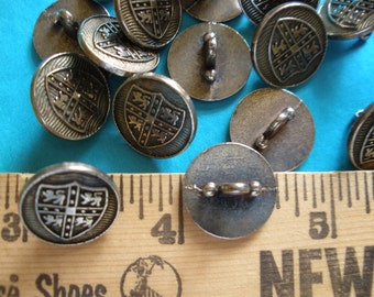 """Vintage Steampunk Cool Buttons 13 heavy metal Coat of Arms Lions shank buttons size 24L (5/8"""" 16MM) silver pewter tone matte finish"""