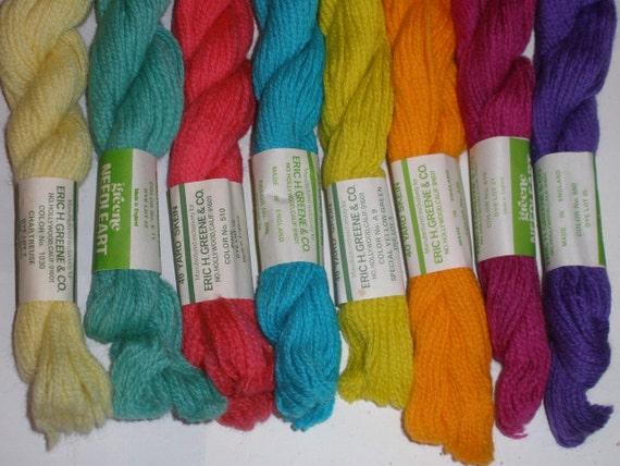 8 Skeins 2Ply triple strand Wool Needlepoint Yarn 320 yards Variety Pack new vintage stock