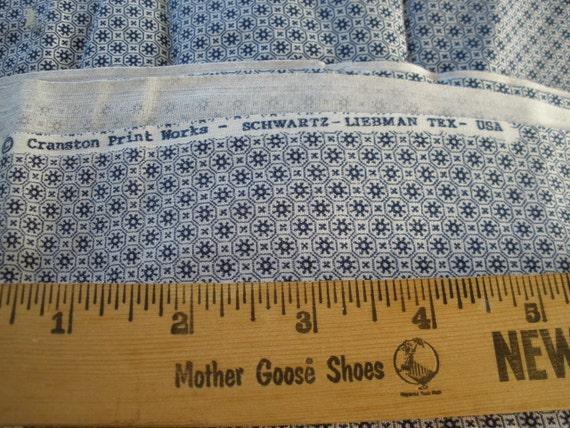 "Fab vintage fabric -Retro Navy print on white Cotton Quilt Fabric 2 Yards 45"" x 72"" L yardage Cranston -Schwartz-Liebman Textiles USA"
