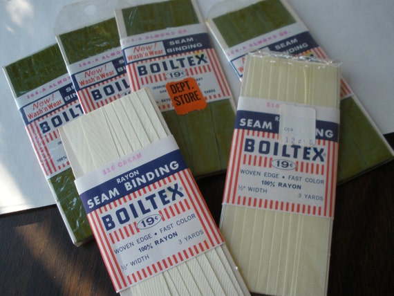 """Cool Vintage Trims -Boiltex Rayon 1/2"""" Seam Binding 18 yards colors 164-A Almond Green & 116 Cream Made in USA"""