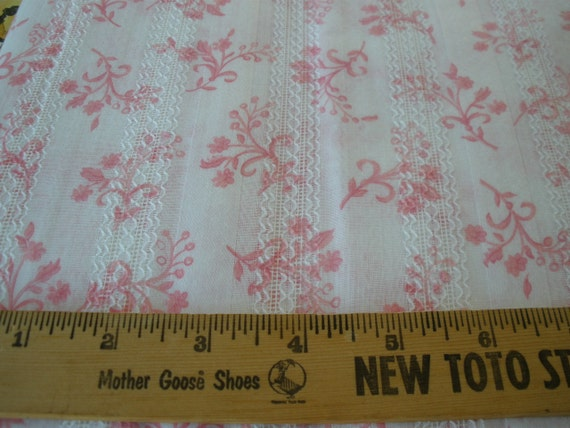 "Fab Vintage Fabric -4 yards by 45"" Rosy pink fleur de lis style flowers on white sateen & lace stripes cotton gorgeous springtime yardage"