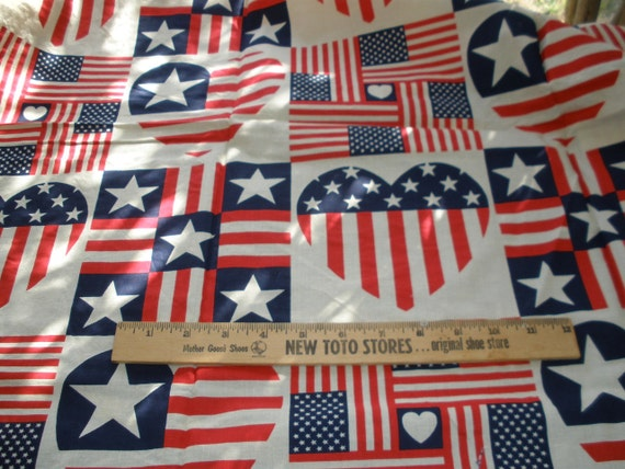 """Fab vintage fabric -Patriotic Stars & Stripes Hearts on Ecru Cotton Quilt Fabric about 1 Yard 44""""W x 35"""" L yardage Fabric Traditions 1991"""