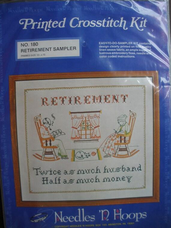 Cool Vintage Cross Stitch Kit -Needles 'N Hoops No. 180 Retirement Sampler Printed cross stitch kit New in pkg retro