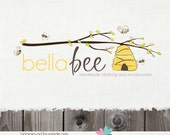 Hand Drawn Branch Beehive Logo Design Premade bee hive Logo - OOAK Never Resold