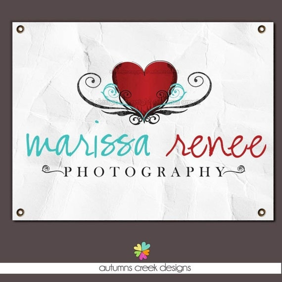 sale Heart Swirls Tattoo Grunge Inspired Shop Photography Premade Logo Watermark Design-NEVER RESOLD