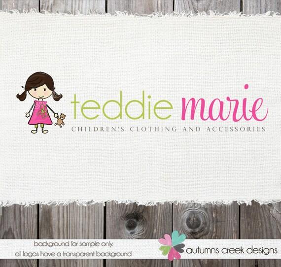 Premade Logo Design - Girl Teddy Bear Photography Shop Sewing Logo Design  OOAK Hand Drawn