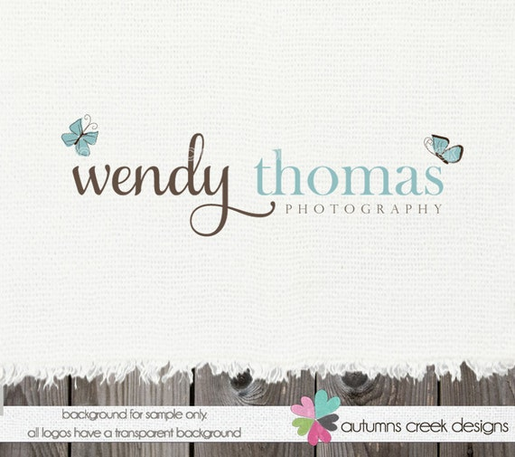 Premade Logo Design- Butterfly  Photography Shop Logo Design- OOAK Hand Drawn