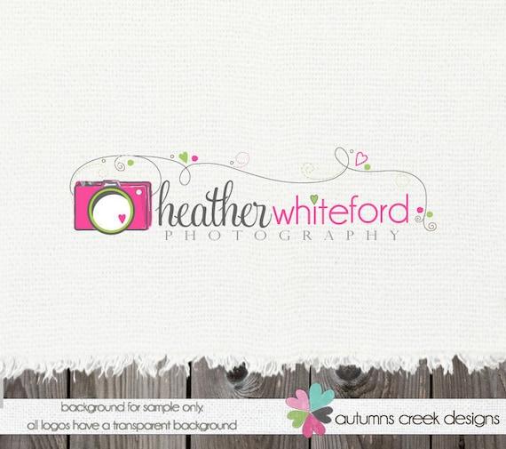 Camera Logo Premade Logo Design with Hearts Swirls Photography Shop Logo Watermark -NEVER RESOLD OOAK