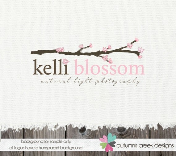 Premade Logo Design - Hand Drawn branch and blossoms Photographer Photography Shop Design OOAK