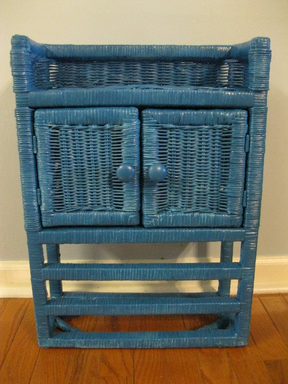 dark turquoise wicker bathroom cabinet ready to hang in your home