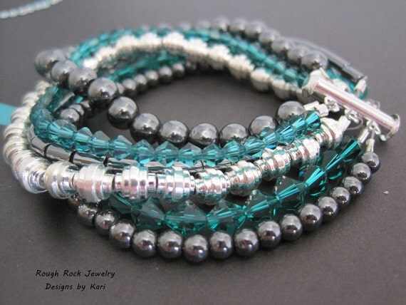 Six strand Hematite, teal, and silver bracelet - PCOS