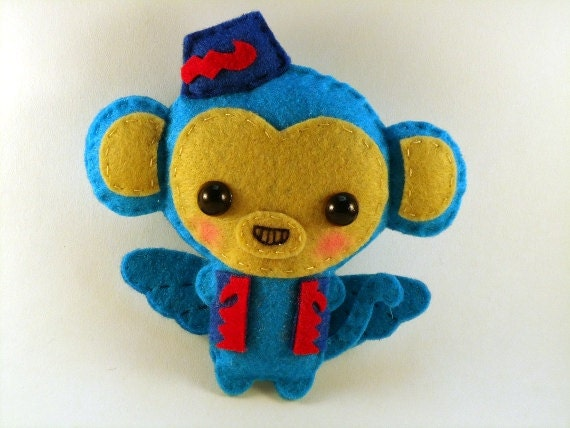 Wizard of Oz: Flying Monkey - felt plush doll in a kawaii style - use as pin, necklace, keychain, magnet or Christmas ornament (your choice)