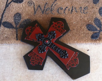 Large Red and Black  Print Wood Cross