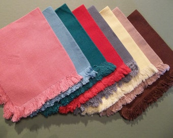 Set of  8 Linen Cocktail Napkins with fridged edges Solid colors