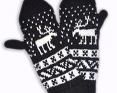"Black and white CUSTOM MADE Scandinavian pattern knit wool mittens ""never-apart""  Valentine gift"