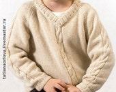 Back to school Winter autumn white wool knit kids sweater jumper pullover CUSTOM MADE