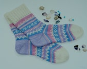 Autumn fall winter short warm turquoise and pink Scandinavian wool knit socks Christmas gift CUSTOM MADE