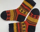 Back to school Orange yellow dark blue warm autumn fall winter Scandinavian pattern knit wool short socks CUSTOM MADE