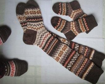 Coffee brown orange bamboo mustard CUSTOM MADE Scandinavian pattern rustic fall autumn winter knit knee-high wool socks present gift