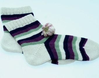 Dark blue and lilac CUSTOM MADE Scandinavian pattern rustic fall autumn winter knit short wool socks present gift