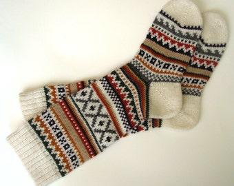 White green brown red CUSTOM MADE Scandinavian pattern rustic fall autumn winter knit knee-high wool socks present gift