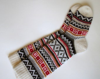 White brown grey red  CUSTOM MADE Scandinavian pattern rustic fall autumn winter knit knee-high natural sheep wool socks present gift