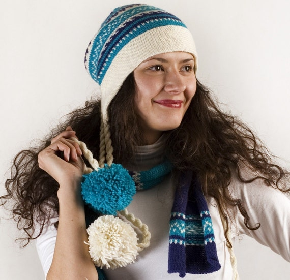 10% OFF in summer Scandinavian pattern blue and white winter wool knit set: a hat with pompons and a scarf CUSTOM MADE