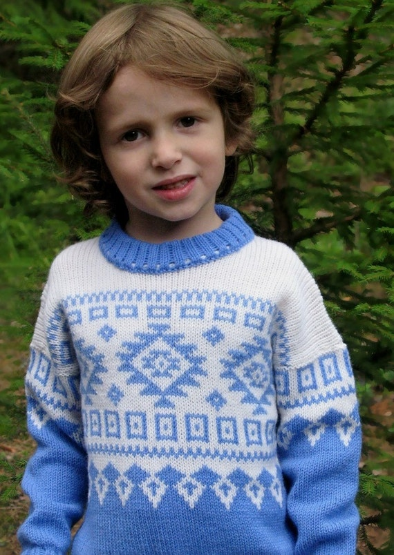 Scandinavian knitted wool spring school kid back-to-school sweater blue white CUSTOM MADE