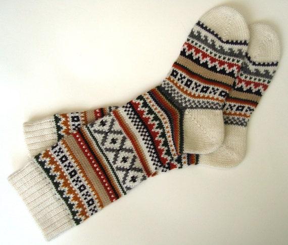 Brown green white red CUSTOM MADE Scandinavian pattern rustic fall autumn winter knit knee-high wool socks present gift