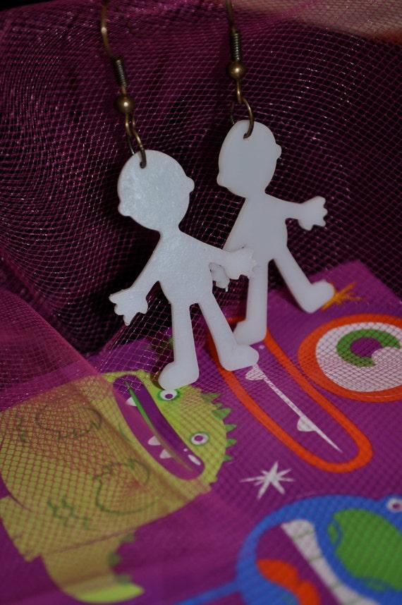 KEITH'S PEEPS - Keith Haring Little People Earrings.  Shrinky Dink & Light Weight.