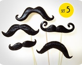 5 Plastic Mustaches on a sticks. Photobooth props