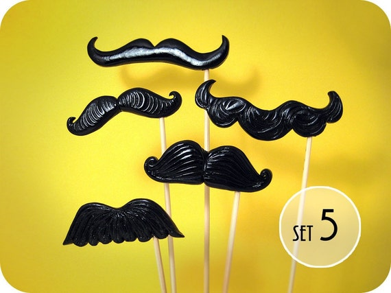 5 Mustaches on a Stick - Choose Style of  Plastic Mustache for your photobooth