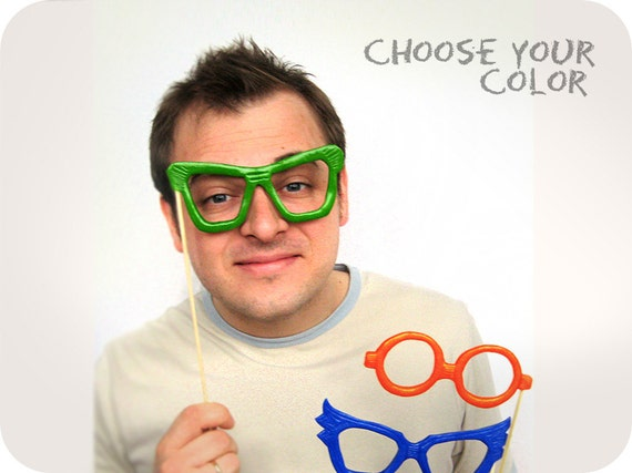 One Color Plastic Glasses on a stick - Choose the style and color - Plastic Photobooth Props for Wedding Photo Booth