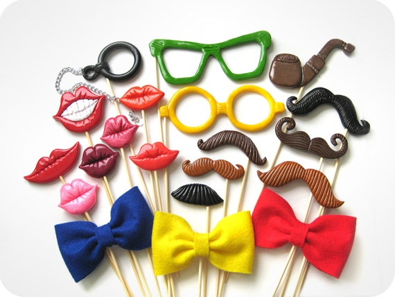 Set of 20 Piece Plastic Photo Booth Party Props - Wedding, party photobooth props - Best Price