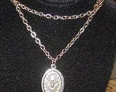Religious Christian Saint Anthony Silver Medal and Chain