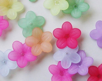 Acrylic Flower Beads - Frosted Petunia Mixed Colors 20mm