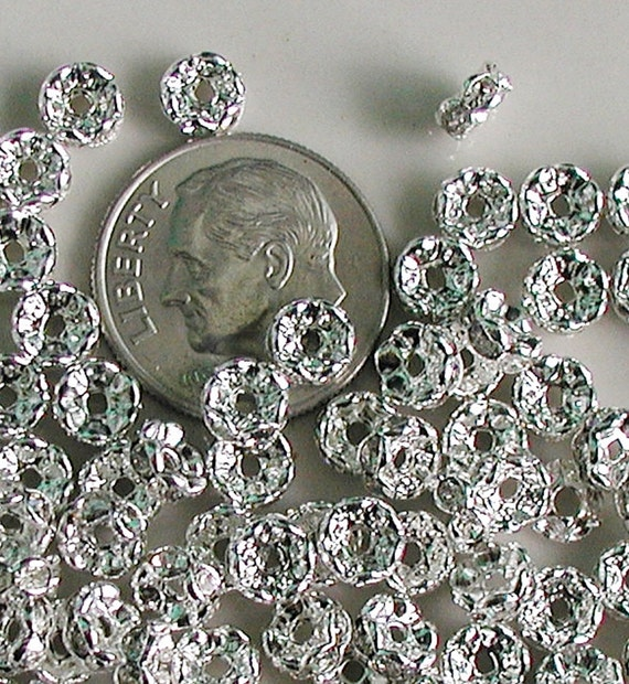Silver Plated Rhinestone Spacers - Clear Crystal -  Rondelle 5mm