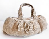 Natural Eco friendly Beige Wool Handbag - Made To Order