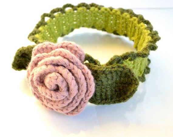 Pink, Lime Green and Dark Green Rose Headband