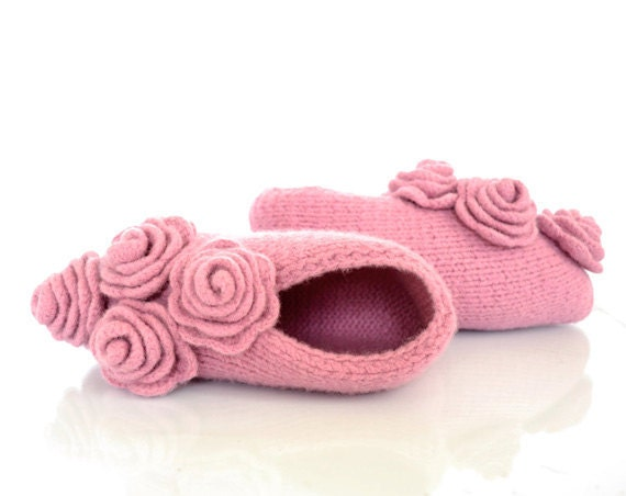 Pure Wool Felted Slippers in Pink with Roses, Shabby Chic Romantic Footwear, Natural Materials