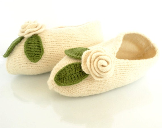 Pure Wool Slippers in Ivory White with Roses, Shabby Chic Romantic Footwear, Natural Materials