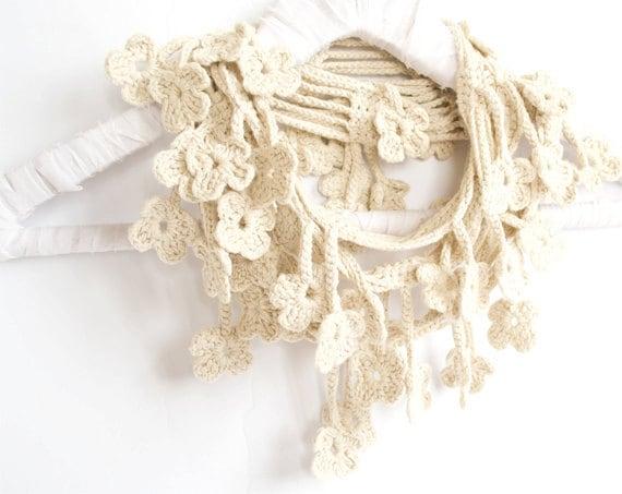 Cream Scarf, Egyptian Cotton Crochet Scarf, Floral