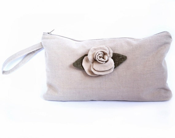 Rose Cream Zippered Pouch, Cotton and Linen, Cream and Khaki