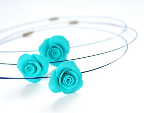 Bridesmaid necklace - tiffany blue rose - set of three - Wedding necklace - Bridesmaids gift Polymer clay Israel