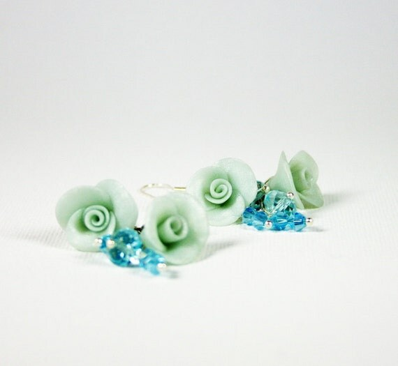Alice blue cluster earrings with Pearl roses and Swarovski, Polymer clay Israel jewelry