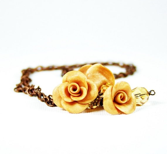 Bridal necklace - Champagne gold cluster with Pearl roses and Swarovski - Polymer clay Israel jewelry
