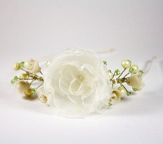 Floral Bridal asymmetry tiara Wedding hair accessories White organza Flower Polymer roses Swarovski Glass pearls headband Made in Israel