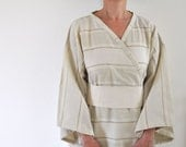 Wearable Turkish Bath Towel Peshtemal Kimono Robe Eco Friendly Khaki Cotton  Obi Belt Cream Ivory Pastel Pale Green Zen Minimalist