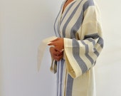 Kimono Robe Cotton Bath Robe Turkish Bath Towel Peshtemal Caftan Eco Friendly Dark Blue Sapphire Extra Soft
