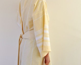 Bathrobe Wearable Cotton Turkish Bath Towel  Peshtemal Kimono Robe Handmade Eco Friendly Yellow Obi Belt Pale Zen Minimalist Thin Delicate